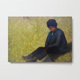Boy Sitting in a Meadow Metal Print