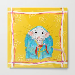 Stay Calm and Meditate with Stu the Rat Metal Print