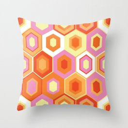 Pink, Orange, Yellow and White Hexagon Geometric Retro Pattern Throw Pillow