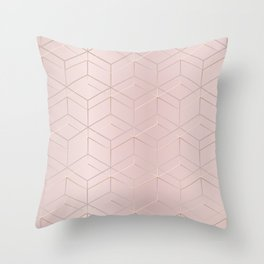 Rose Gold Cubes Throw Pillow