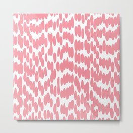Cute Dot, Fun, Abstract Art, White and Pink Art Metal Print