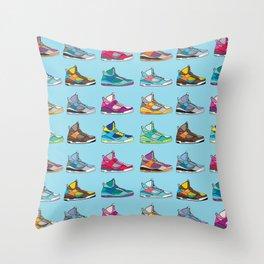 Colorful Sneaker set illustration blue illustration original pop art graphic print Throw Pillow