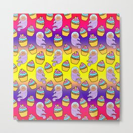 Cute sweet adorable Kawaii cats, funny colorful yummy cupcakes rainbow yellow purple red pattern design. Space suits and astronauts. Metal Print