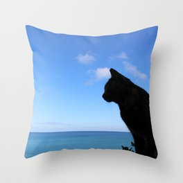 Cat by the sea Throw Pillow