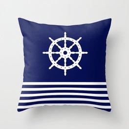 AFE Navy & White Helm Wheel Throw Pillow