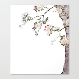 pink cherry blossom Japanese woodblock prints style Canvas Print
