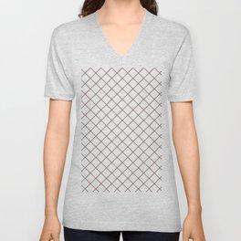Pantone Red Pear Thin Line Stripe Grid (Pinstripe Pattern) on White Unisex V-Neck