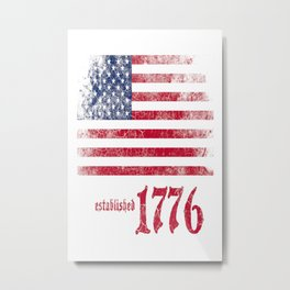 American Flag Established 1776 Vintage Print Metal Print