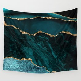 Teal Blue Emerald Marble Landscapes Wall Tapestry