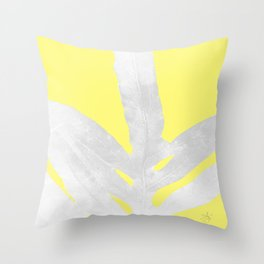 Green Fern on Lemon Yellow Inverted Throw Pillow