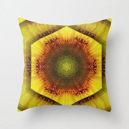 Sunflower Kaleidoscope by Cat Ryan Throw Pillow