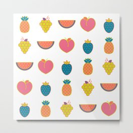hip summer fruits in Living Coral fun Metal Print