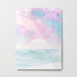 Winter Landscape on Candy Marble Sky Metal Print