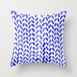 Cute watercolor knitting pattern - blue Throw Pillow