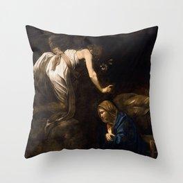 Annunciation by Caravaggio (1608) Throw Pillow
