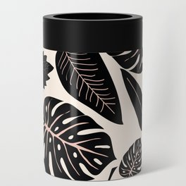Monstera pattern in black and pastel Can Cooler