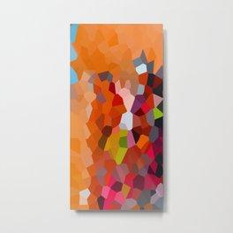 Pixelated Lanterns in Joy and Orange Metal Print