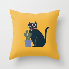 Fun cat with a cactus plant on yellow Throw Pillow
