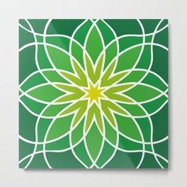 Shades of Green | Abstract Flowers | Geometric Pattern | Green and White | Metal Print