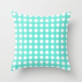 Farmhouse Gingham in Turquoise Throw Pillow
