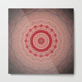Blush Pink Textured Flower Mandala Metal Print