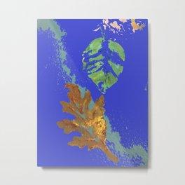 Oak Leaf on Royal Blue Painting Metal Print