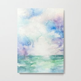 Colored Sky Watercolor Painting Metal Print