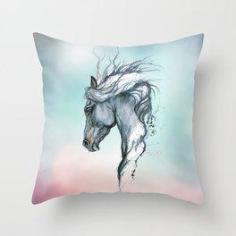 Aqua horse Throw Pillow