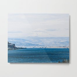 Lake and Mountain Cap // Grainy Foggy Blue Landscape Photography in Beautiful Oregon Metal Print
