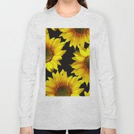 Large Sunflowers on a black background #decor #society6 #buyart Long Sleeve T-shirt