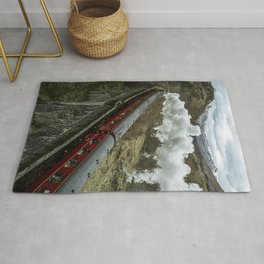 Red Wizard Steam Train In The Scottish Highlands – Landscape Photography Rug