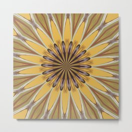 Yellow and Ochre Flower Pattern Abstract Metal Print