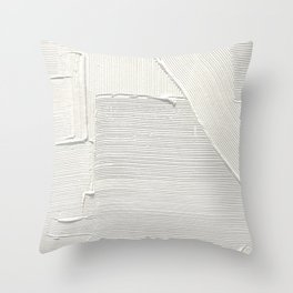 Relief [2]: an abstract, textured piece in white by Alyssa Hamilton Art Throw Pillow