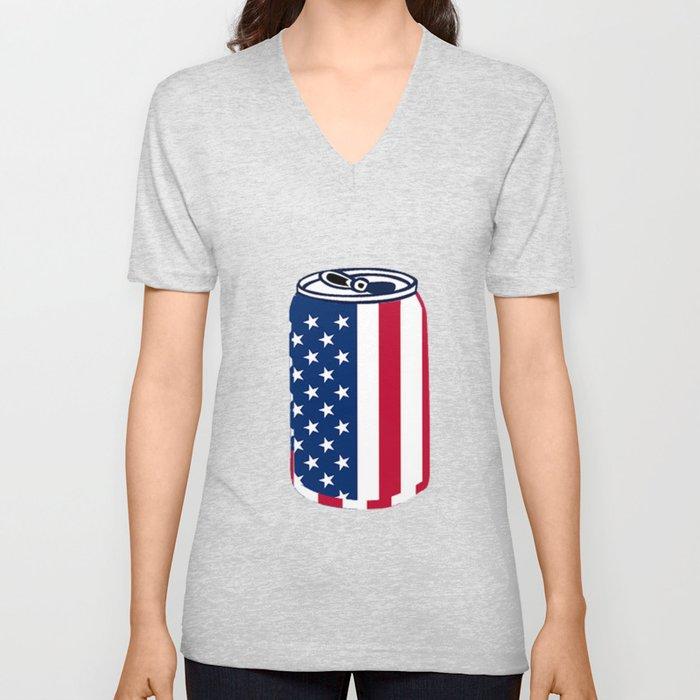 American Beer Can Flag Unisex V-Neck
