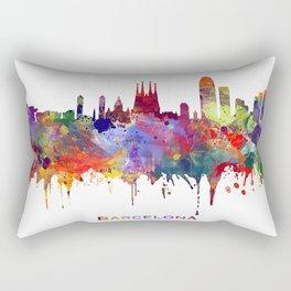 Barcelona Print Colorful Watercolor Art Barcelona Cityscape Skyline Poster Spain Decor Rectangular Pillow