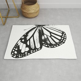Monarch Butterfly | Left Butterfly Wing | Vintage Butterflies | Black and White | Rug