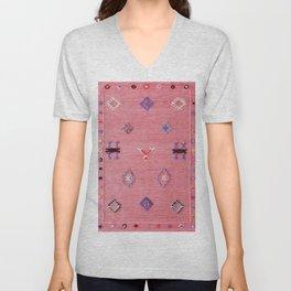 Pink Oriental Traditional Boho Moroccan Style Design Artwork Unisex V-Neck