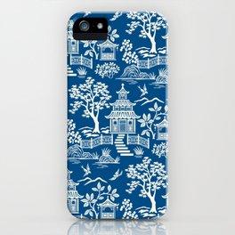 Chinoiserie Pagoda Dark blue iPhone Case