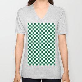 White and Cadmium Green Checkerboard Unisex V-Neck