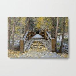 Yosemite Fall Colors Swing Bridge 11-7-19 Metal Print