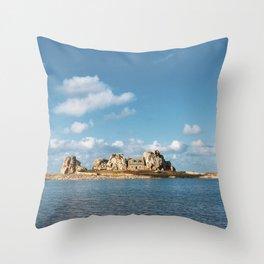 House between rocks Throw Pillow