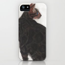Dave the Bengal Cat, pastel, oil pastel, pencil, charcoal, by Candy Medusa, Black Dwarf Designs iPhone Case