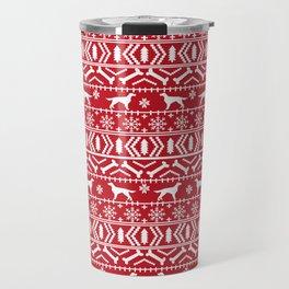 Irish Setter fair isle christmas red and white holiday sweater gifts dog breed Travel Mug