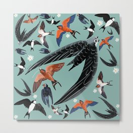 Swallows Martins and Swift pattern Turquoise Metal Print