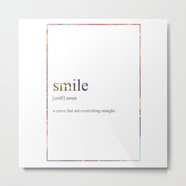 SMILE 505 Watercolor Map Yoga Quote Definition Des Metal Print
