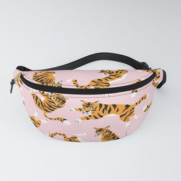Cute tiger in the tropical forest hand drawn on pink background illustration Fanny Pack