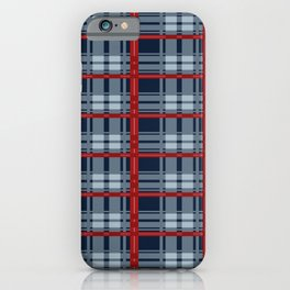 Red Line White And Blue Lumberjack Flannel Pattern iPhone Case