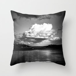 Cloudy Möhne Reservoir Lake bw Throw Pillow