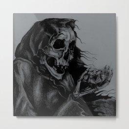 Skeleton Holding Diamond Metal Print