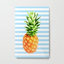 Pineapple, blue stripes, Pineapple Poster, Summer poster Metal Print